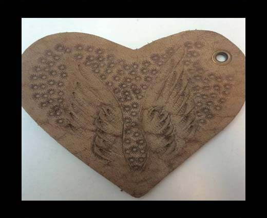 Heart 8cm - style 5 - Natural Leather Embossed