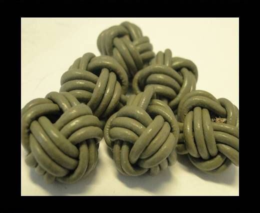 Leather Beads -12mm-Light Khaki