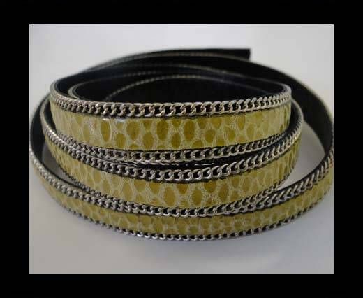 Leather with snake print - silver chain-10mm-SE-PS-10