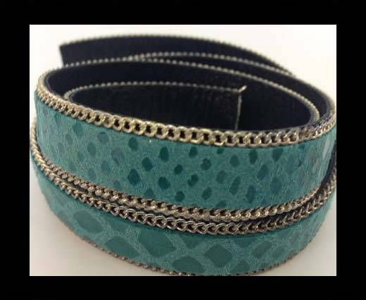 Leather with snake print - silver chain-14mm-SE-PS-P2