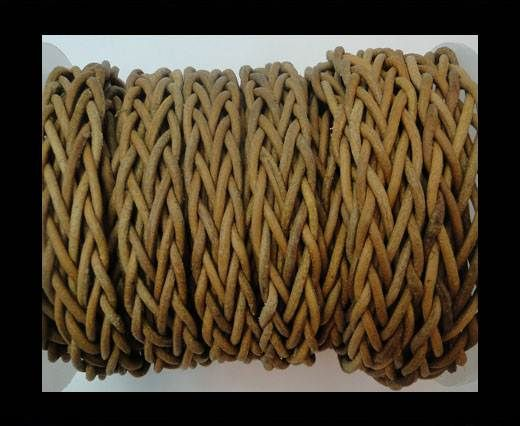 Plaited Round Leather cords -14mm - Dark Natural