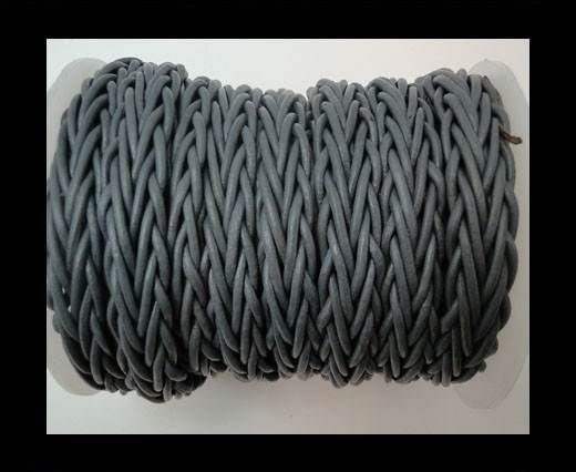 Plaited Round Leather cords -14mm - Grey