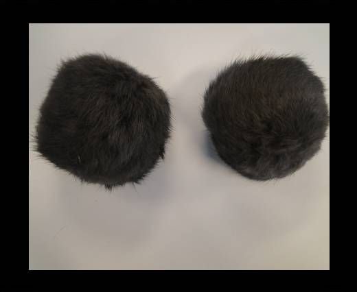 Rabbit Fur Pom Pom-Grey-9cms