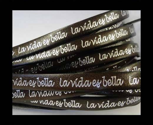 Real Flat Leather-10mm-La Vida Es Bella -Dark Brown with Silver