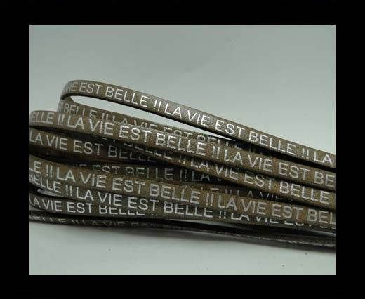 Real Flat Leather-LA VIE EST BELLE-Silver-Tortora