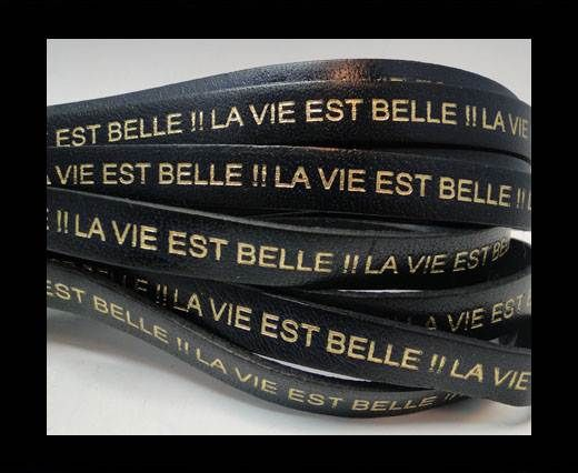 Real Flat Leather-LA VIE EST BELLE-Blue with Gold