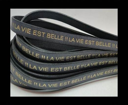Real Flat Leather-LA VIE EST BELLE-Grey with Gold