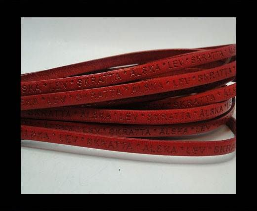 Real Flat Leather-LEV SKRATTA ÄLSKA-5mm-red