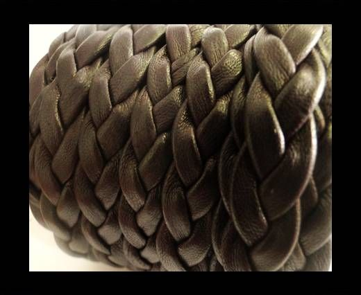 Real Nappa Leather -Flat-Braided-Dark Brown-10mm