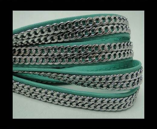 Real Nappa Leather Chain Stitched-10mm-Double-Acquamarine