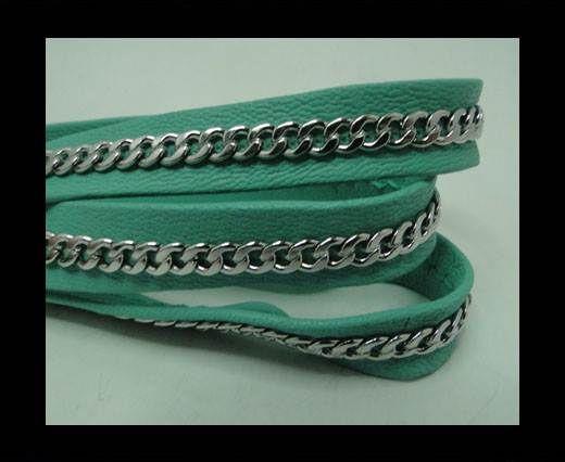 Real Nappa Leather Chain Stitched-10mm-Single-Acquamarine