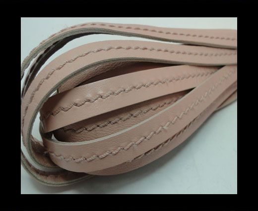 Real Nappa Leather with stitch in the middle-10mm-Pastel Pink