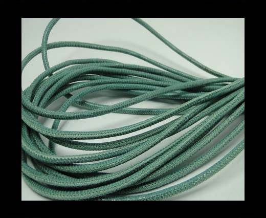 Real Round Nappa Leather cords - Lizard Prints-Menta Lizard- 2.5
