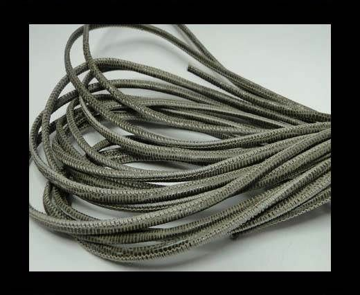 Real Round Nappa Leather cords - Lizard Prints-Taupe Lizard- 2.5