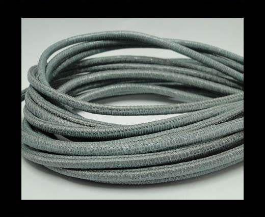 Real Round Nappa Leather cords-Lizard Prints-Light Grey Lizard-
