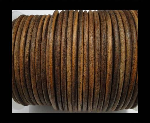 Round Leather Cord Vintage Cognec -4mm