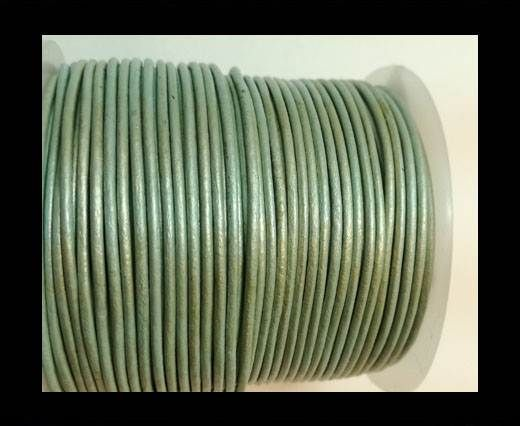 Round Leather Cord -1mm- METALLIC APPLE GREEN