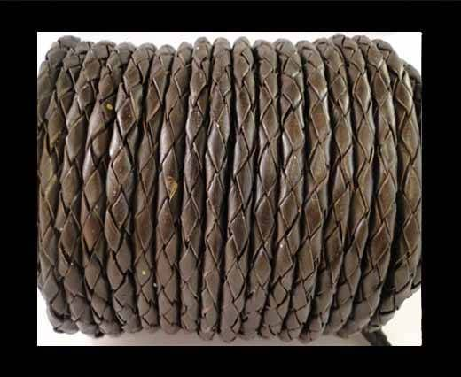 Round Braided Leather Cord SE/B/03-Dark Brown - 6mm