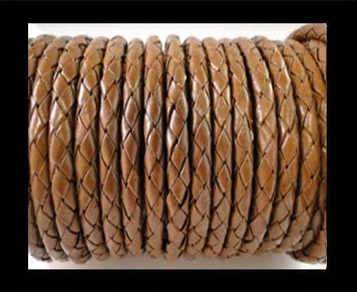 Round Braided Leather Cord SE/B/07-Medium Brown - 8mm