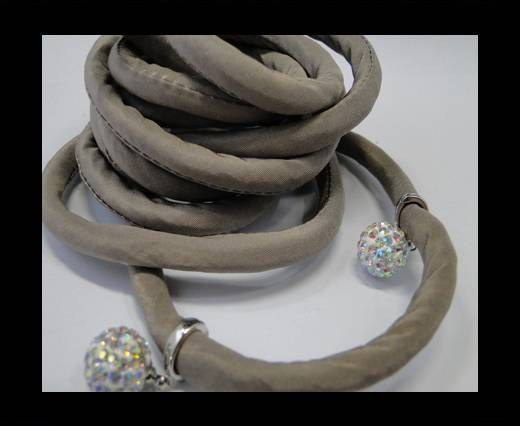 Real silk cords with inserts - 8 mm - Taupe