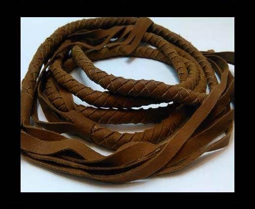 Suede Braided Belts with tassels - 8mm round -Light Brown