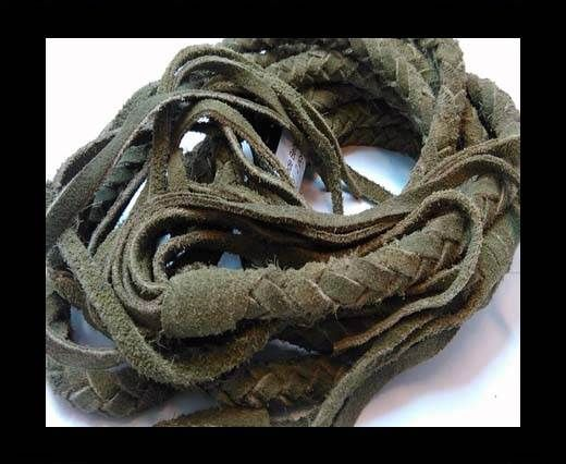 Suede Braided Belts with tassels - 8mm round -Loden