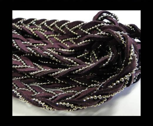 Suede cords with chains-10mm-purple
