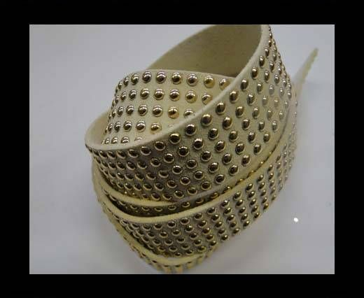 Suede Cords with Studs 20mm-5 layers-Gold-White