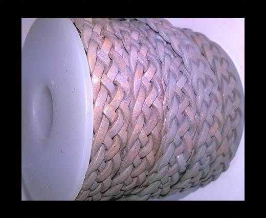 10mm Flat Braided- SE-light grey- 5 ply braided Leather Cords