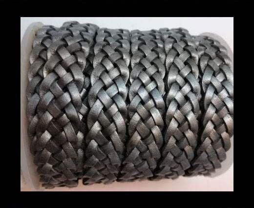 10mm Flat Braided- SE METALLIC GREY - 5 ply braided Leather Cord