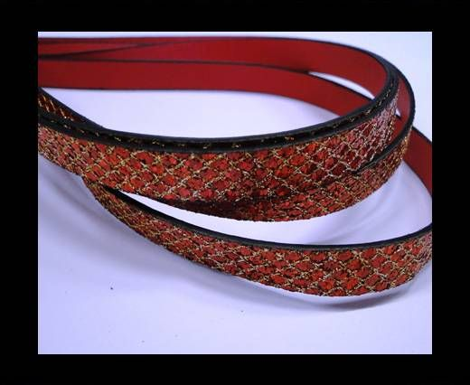 Eco Glitter Leather - Red -Glitter Style -10mm