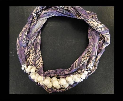 Scarf With Beads Style1-Purple Leopard