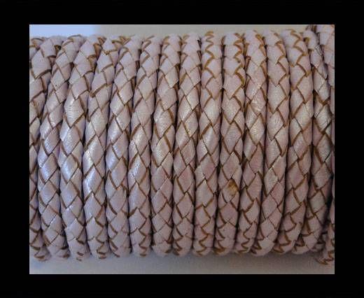 Round Braided Leather Cord SE/M/07-Metallic Lavender - 5mm
