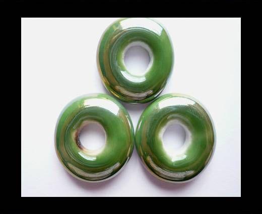 CB-Ceramic Flower-Small Donuts-Green AB