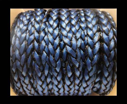 Cuero trenzado plano eco-Estilo 1- 8mm-Azul Oscuro