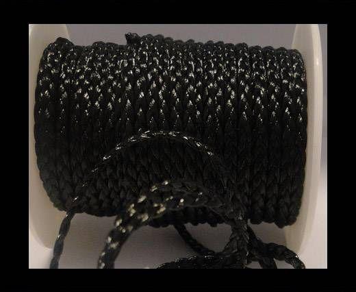 Cuero trenzado plano eco-5mm-Negro