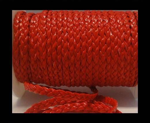 Cuero trenzado plano eco-5mm-Rojo