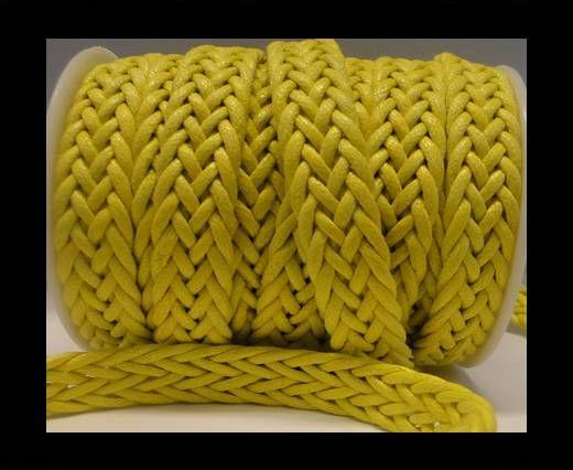Cuero trenzado plano eco-Estilo Especial-16mm-Amarillo