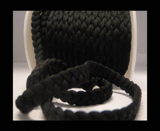 Cordón de tela trenzada-8mm-Negro