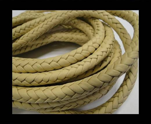 Fine Braided Nappa Leather Cords-8mm-LATTE