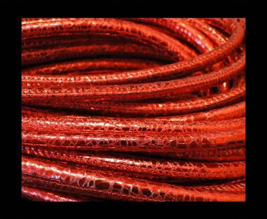 Cuero de nappa de alta calidad -Estilo Serpiente-Rojo Metálico- 4mm