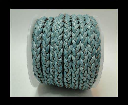 Choti-Flat 3-ply Braided Leather -5mm-Blue white base