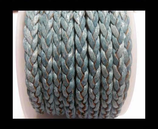 Choti-Flat 3-ply Braided Leather -SE Blue white base