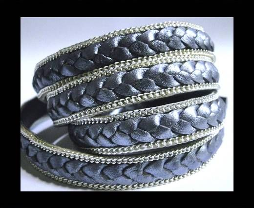 Flat Braided 3 ply with Silver chain - 14mm - Metallic Purple V2