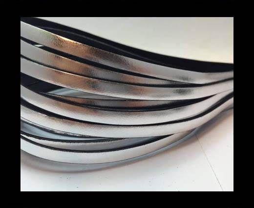 Flat Italian Leather-5mm-Silver