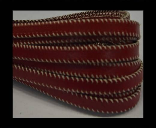 Flat Leather- Side Stitched - Red