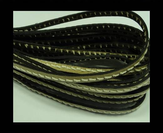 Flat Leather Cord With Thick Stitch-5mm-Beige