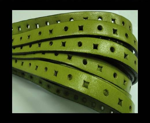 Flat Leather Cords With Square Holes-10mm-Moss