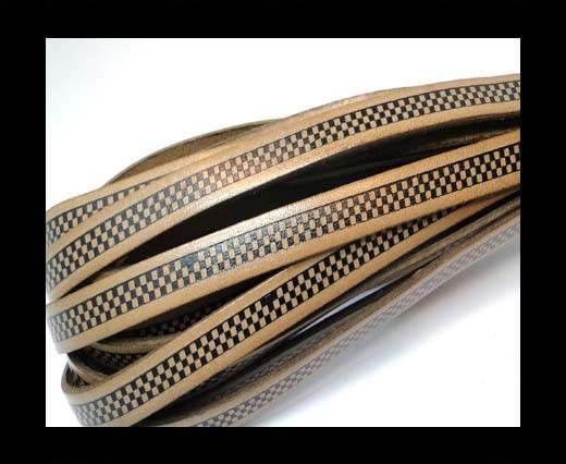 Flat Leather Cords - Chess Style - 10mm-Tortora