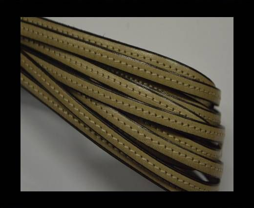 Flat leather with stitch - 5 mm - Beige